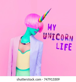 Contemporary art collage. Colorful girl. My unicorn life. Minimal Fashion style