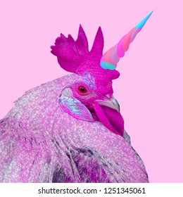 Contemporary art collage. Colorful unicorn cock. Funny animal collage idea