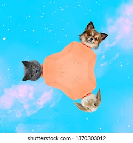 Contemporary art collage. Concept animals in space.