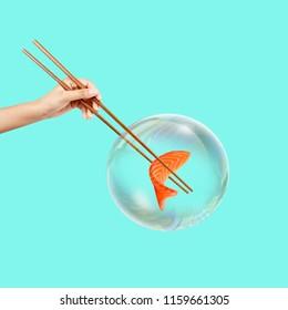 Contemporary art collage. Concept bubble Sushi.