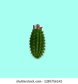 Contemporary art collage. Concept Cactus lighter on blue background.