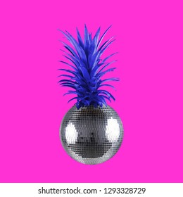 Contemporary art collage. Concept disco ball pineapple on pink background.