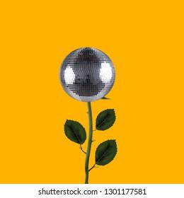 Contemporary art collage. Concept disco ball flower.