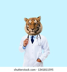 Contemporary art collage. Concept doctor with tiger head.