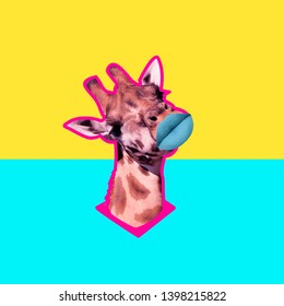 Contemporary art collage. Concept giraffe with lips.