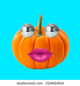 Contemporary art collage. Concept Halloween pumpkin with disco balls eyes and lips.