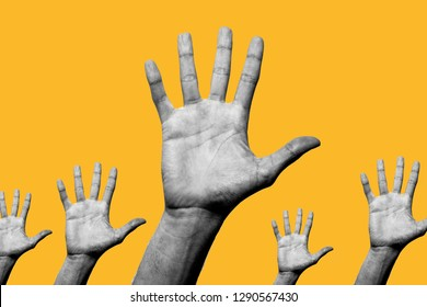 Contemporary art collage. Concept of Helping. Five open hands showing their palm in black and white with a yellow background