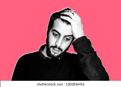 Contemporary art collage. Concept of impossible, unmanageable. Portrait of a young bearded man with his hand in the head. He's hopeless. He thinks he can't do it. Black and white image. Red background