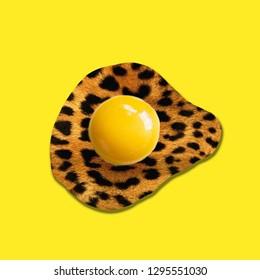 Contemporary art collage. Concept leopard egg yolk.