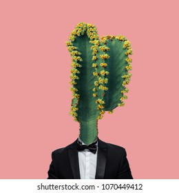 Contemporary Art Collage, Concept of a mans body with a cactus flower head