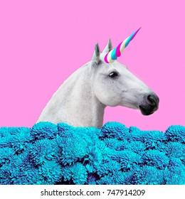 Contemporary art collage. Concept my unicorn life. White Unicorn in  dreams flowers