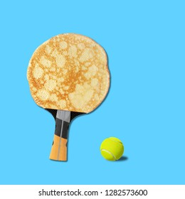Contemporary art collage. Concept Pancake tennis racket with ball on blue background.
