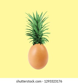 Contemporary art collage. Concept pineapple egg.