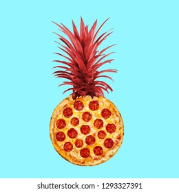 Contemporary art collage. Concept pizza pineapple on blue background.