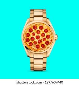 Contemporary art collage. Concept pizza clock watch.