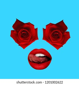 Contemporary art collage. Concept roses as eyes and lips.