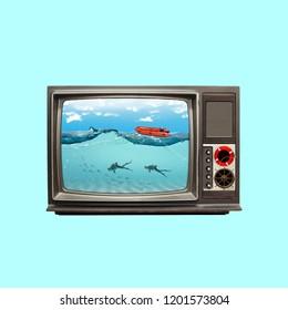 Contemporary art collage. Concept the sea in tv.