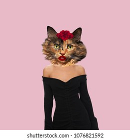 Contemporary art collage, Concept sexy lady Cat with red lips wearing a black dress