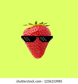 Contemporary art collage. Concept thug strawberry with sunglasses on color background.