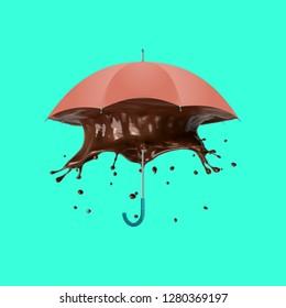 Contemporary art collage. Concept Umbrella Chocolate splash.