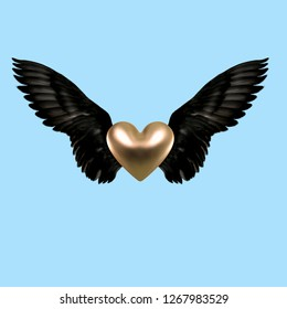 Contemporary art collage. Concept wings with heart on blue background.