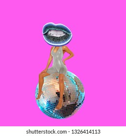 Contemporary art collage. Concept woman with lips sitting on disco ball.