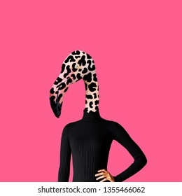 Contemporary art collage. Concept woman flamingo on pink background.