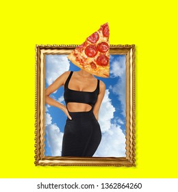 Contemporary art collage. Concept woman in a frame with pizza as a head.