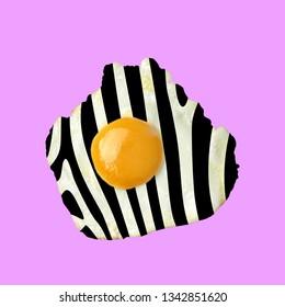 Contemporary art collage. Concept zebra fried egg.