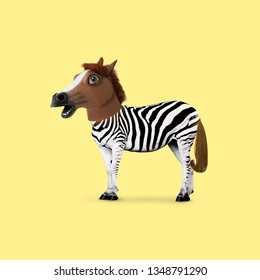 Contemporary art collage. Concept zebra with horse head.