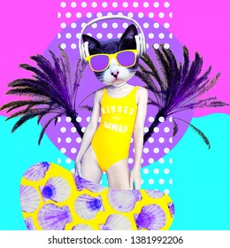Contemporary art collage. Dancing Dj Kitty in beach palm dreams. Zine culture concept