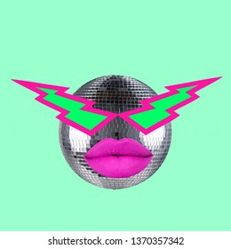 Contemporary art collage. Disco ball with lips.