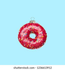 Contemporary art collage. Donuts Christmas decoration.