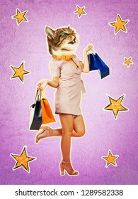Contemporary art collage full length portrait of happy kitten headed woman, leg bent back carrying shopping bags after sale. Purple style collage, zine culture concept. Funny cat shopaholic singing.