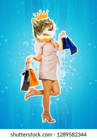 Contemporary art collage full length portrait happy kitten headed woman with gold crown, leg bent back carrying shopping bags. Modern style pop art zine culture concept. Funny cat shopaholic singing.