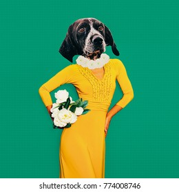 Contemporary art collage. Fun art. Stylish Lady dog in vintage dress