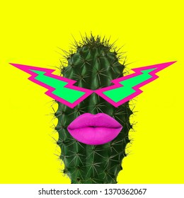 Contemporary art collage. Funky Cactus.