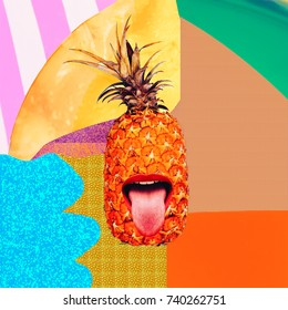 Contemporary art collage. Funny Pineapple and Maximum Party. Fashion texture flat lay design