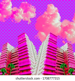Contemporary art collage. Geometry and architecture creative mix. Beach pink vacation vibes