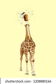 Contemporary art collage. Giraffe with champagne head.