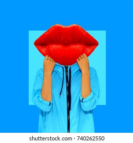 Contemporary art collage. Girl Red Lips. Minimal art. Fun Art