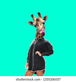 Contemporary art collage. Lady with giraffe head.