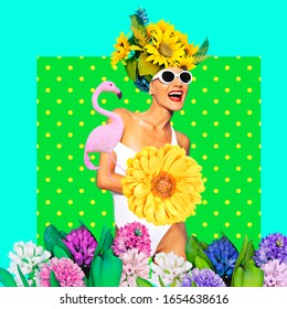 Contemporary art collage. Lady Summer mood.  Vacation vibes