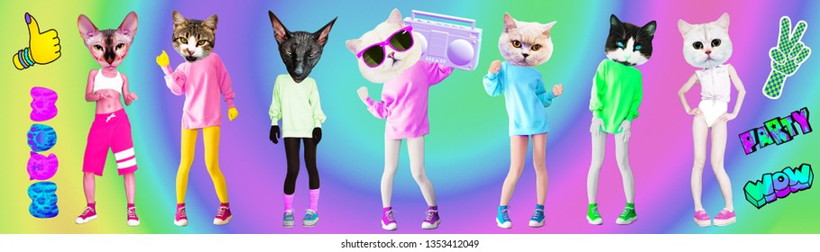 Contemporary art collage. Minimal concept. Set Kitties Party