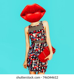 Contemporary art collage. Minimal design Fashion Concept Red Lips and Red Accessories