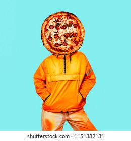 Contemporary art collage. Minimal pizza lover concept. Pizza and orange person