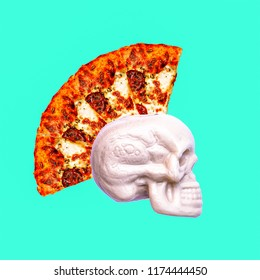 Contemporary art collage. Pizza punk skull. Fast food minimal project