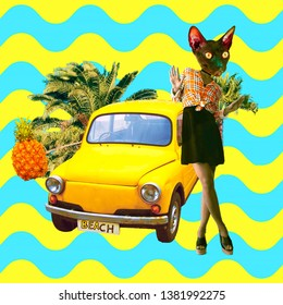 Contemporary art collage. Retro Kitty Mood. Zine culture concept