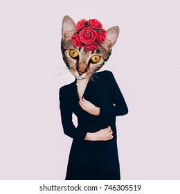 Contemporary art collage. Retro Lady  Cat. Minimal design Flat lay