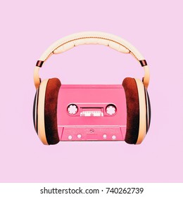 Contemporary art collage. Retro Lover. Audio cassette and headphones Minimal fashion   Flat lay art